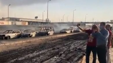 "Photo of حريق موقف العاشر.. كسر بخط خام (شقير – مسطرد)  يحول المنطقة الى ""جحيم"""
