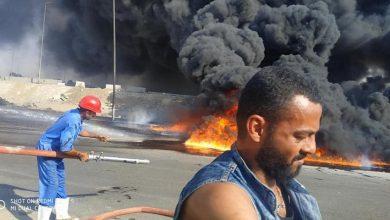 Photo of حريق هائل في موقف العاشر نتج عن كسر ماسورة مواد بترولية