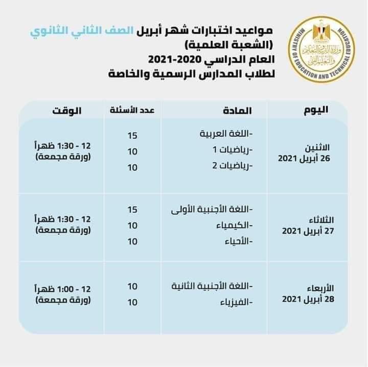 مواعيد امتحانات شهر أبريل للصف الثاني الثانوي 2021 الترم الثاني