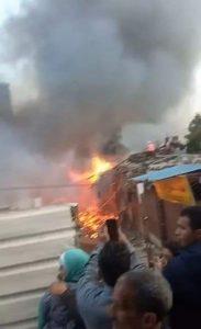 مصر محسودة .. تحطم قطارين وحريق اخر وانهيار عقار وكوبري
