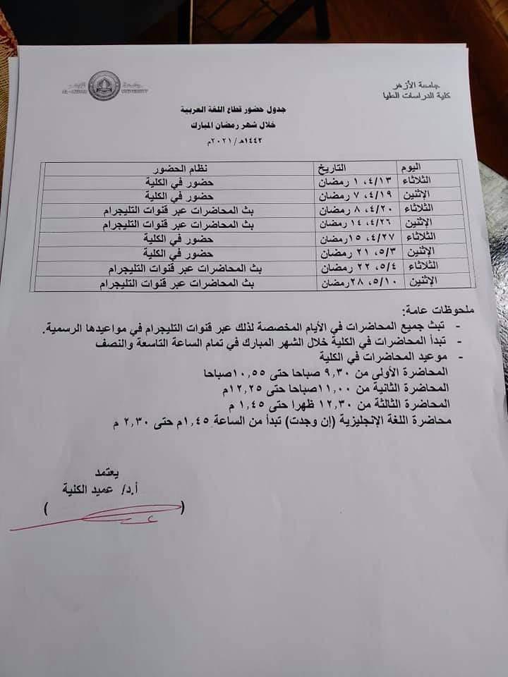 جدول محاضرات كلية الدراسات العليا بجامعة الأزهر خلال شهر رمضان